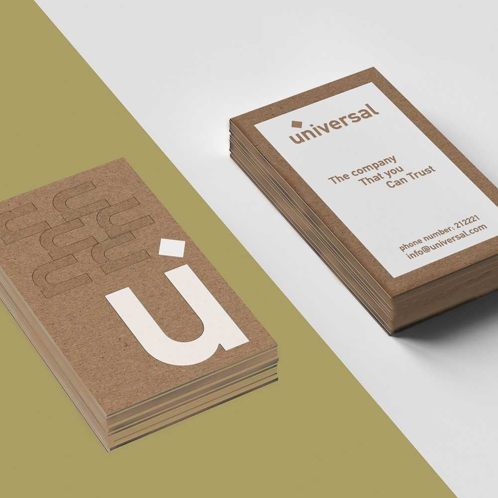 Duplex luxury business card on kraft paper with white foil stamping ...