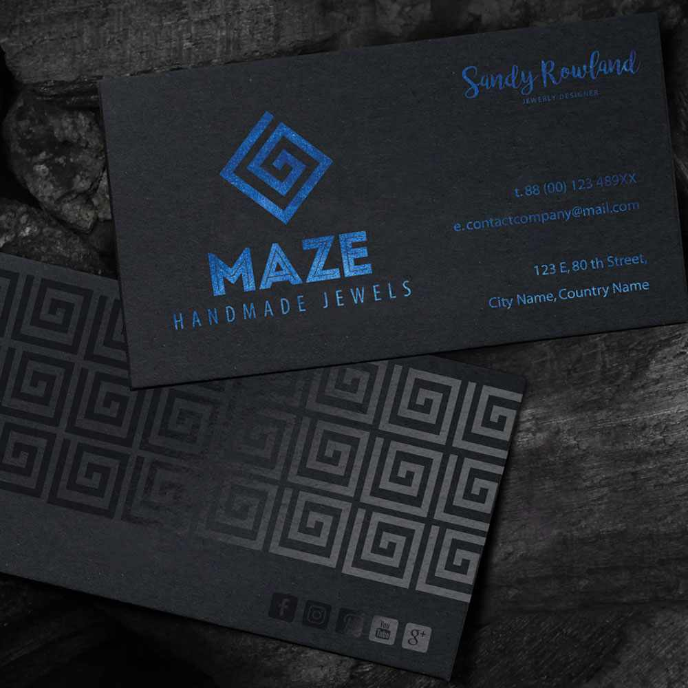 Duplex luxury business card on black matte paper with blue & black ...