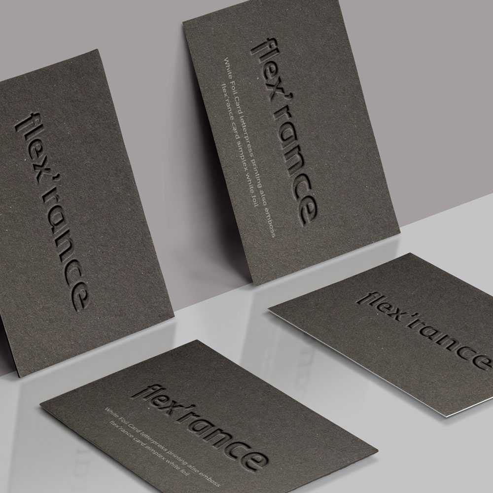 Duplex luxury business card on grey matte paper with embossed ...
